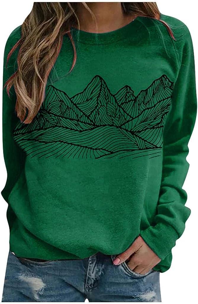 ONHUON Womens Long Sleeve Tops,Women Sweatshirts Trendy Plus Size Long Sleeve Aesthetic Pullover Landscape Graphic Shirts