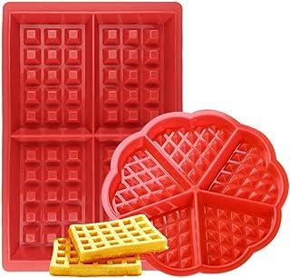 Febbya Moldes de Gofres,Silicone Waffle Moldes 2 Pack Antiadherentes Gofres para Hornear para Niños Molletes Galletas Choclate Herramientas de Cocina Rectangular y Forma de Corazón Rojo