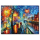 V-inspire art, 30x40 inch, Modern Impressionist Hand painted Streets at night oil paintings on...