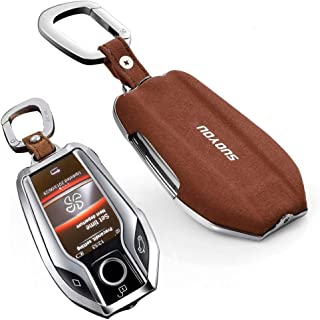Genuine Leather Compatible Remote Smart Display Key Fob Case Cover for BMW 2016 2017 2018 7 Series G11 G12 2017 2018 5 Series G30 G31(Brown)