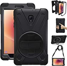 gzerma Case for Samsung Galaxy Tab A 8.0 SM-T380 2017 (Not T387 2018), Child Proof Handle Shoulder Strap, Kickstand, Screen Protector, Heavy Duty Rugged Cover for Samsung Tab A 8.0 Inch Tablet, Black