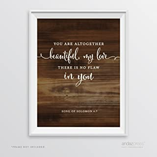 Andaz Press Biblical Wedding Signs, Rustic Wood Print Poster, 8.5x11-inch, You are altogether beautiful, my love, Song of Solomon 4:7, Bible Scripture Verse Quotes, 1-Pack