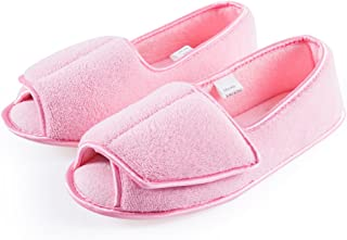 Git-up Women Diabetic Slippers/W Arthritis Edema Adjustable Closure Memory Foam House Shoes Open Toe Extra Wide