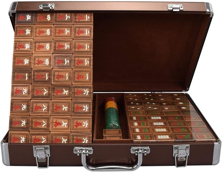 Mahjong Set of with Wooden Fami Aluminum Sacramento Mall Travel Box Case All items in the store