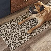 Vinyl Floor Runner, Durable, Soft and Easy to Clean, Ideal for Kitchen Floor, Entryway or Hallway Floor Mat. Freestyle, Wrought Iron Deco Pattern (2 ft x 6 ft)