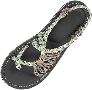 8e964ba53c8a Sandali da Donna per Bassi da Spiaggiadel Ragazza Boemia Scarpe del Piatto  Infradito Pantofole del Casuale