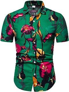 Men Shirt Short Sleeve Casual Slim Wild Print Shirt Hawaii Beach Flower Shirt