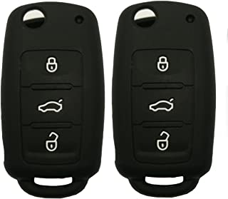 Keyless Entry Remote Key Fob Skin Cover Protective Silicone Rubber key Jacket Protector for VW Volkswagen Golf Passat Beetle Jetta 3 Buttons Key Holder (2 Black)