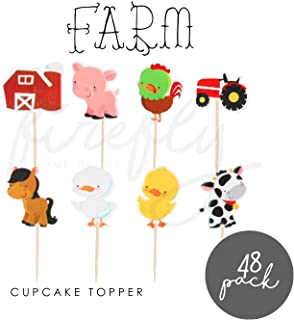 FIREFLY Farm 48 Cupcake Toppers Baby Shower Decorations Party Cake Decorating Supplies First Birthday Decorations Kids Chi...