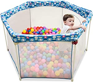 Portable Baby Playpen 6-Panel with Carry Case Infants Playard Center Tent Foldable Safety Fence Preschool Toys  Kid s Play Pen