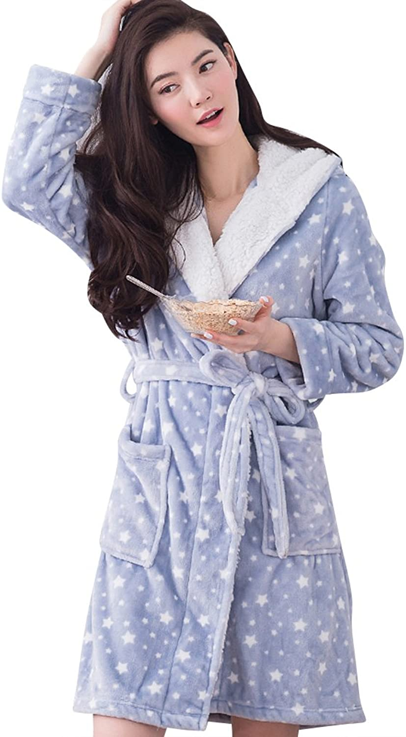 Evenika Stars Print Hooded Cute Fleece Flannel Pajama for Women Robes Bathrobe