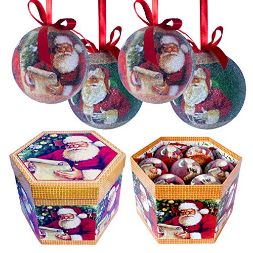 The Christmas Workshop - Set Regalo di Palline di Natale, 7.5cm Diameter