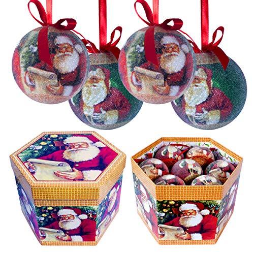 The Christmas Workshop 14-Piece 75 mm Santa Design Decoupage Baubles