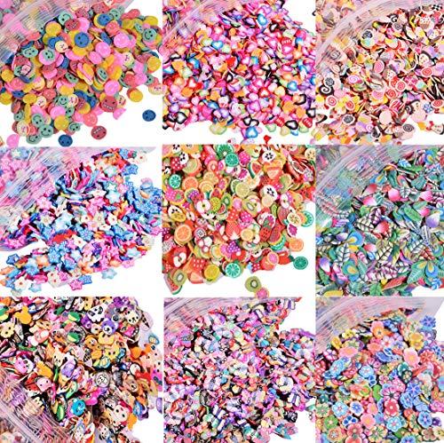 EHOPE 5000 PCS 3D Polymer Slices Fruit Slices DIY Nail Art Slime Supplies Charms Slime Making Kit Decoration Arts Crafts(Fruit,Heart,Plum Blossom,Pentagram,Cake,Cartoon,Animal)