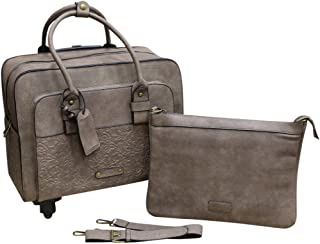 Simply Noelle Tooled Roller Bag (Taupe)