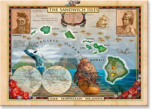 Pacifica Island Art Kühlschrank Magnet mit Hawaiianischem Motiv - Old World Map of Hawaii