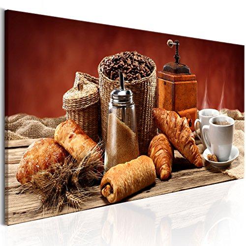 murando - Bilder Küche Kaffee 120x40 cm Vlies Leinwandbild 1 TLG Kunstdruck modern Wandbilder XXL Wanddekoration Design Wand Bild - Croissant Kaffeetasse Kaffebohnen Frühstück j-A-0059-b-c