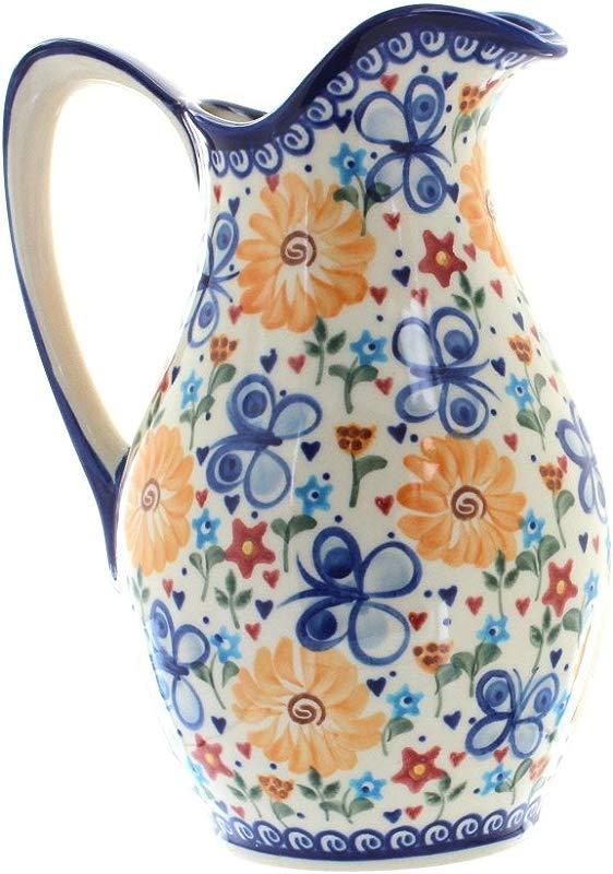 Blue Rose Polish Pottery Butterfly Pitcher