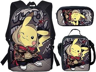 Mochila escolar 3 en 1 Pikachu Anime Print mochila ajustable para niños y niñas, bolsa de regreso a la escuela, Pikachu-2 (Gris) - UF-H354CGK