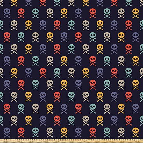 ABAKUHAUS Arte De Pixel Tela por Metro, Calaveras Con Huesos, Microfibra Decorativa para Artes y Manualidades, 1M (230x100cm), Multicolor