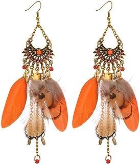 Women Earrings Elegant Jewelry Ethnic Style Colored Feather Long-Tassel Dangle Earrings Orange