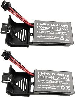 sea jump 2PCS 3.7Vx2 1000mah Lithium Battery for UDI U818S U842 U842-1 U818S-HD WIFI FPV Quadcopter Spare Part Remote Control Drone Battery,Black