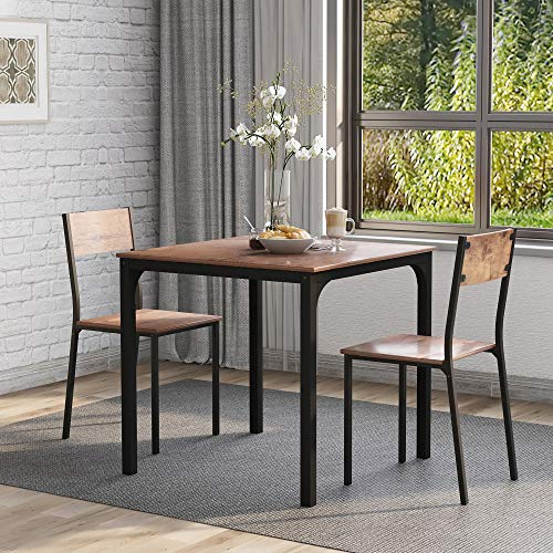 ModernLuxe Dining Table and Chairs Set Kitchen Table Furniture Dining Set Solid Wooden Table & Metal Legs (Rustic Brown Table and 2*Rustic Brown Chairs)