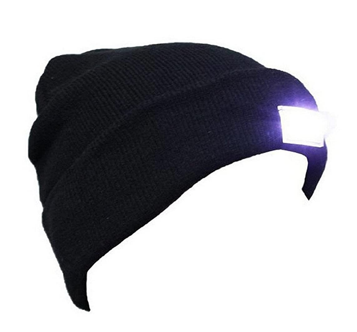 VANCIC Ultra Bright 5 LED Hands Free Unisex Lighted Beanie Cap/Hat Power Stocking - 12000MCD of Perfect Flashlight for Outdoors Sports,Hunting, Camping, Grilling, Jogging, Fishing, Handyman Working