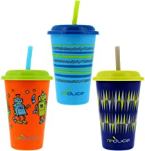 Reduce GoGo's, 3 Pack Kids Tumbler Set – 12 oz Kids Cups with Straws and Lids – This Dishwasher Safe Toddler Cup is BPA Free – An Ideal Kids Smoothie Cup – Mix and Match, 3 Fun Designs, Bold