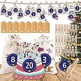 ASANMU Calendario Adviento Navidad, 2020 Bolsas de Calendario de Cuenta Regresiva de Navidad, Bolsas de Regalo Navidad con 1-24 números Bolsas de Yute Navideño para Calendario Adviento de Navidad