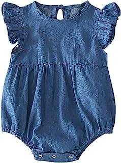 Slowera Baby Toddler Girls Boy Denim Ruffled Bodysuit Blue Soft One-Piece Romper