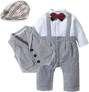 Baby Boy Gentleman Outfits Suits Long Sleeve Jumpsuit + Vest +Berets + Bow Tie Infant Pant Sets 4 pcs