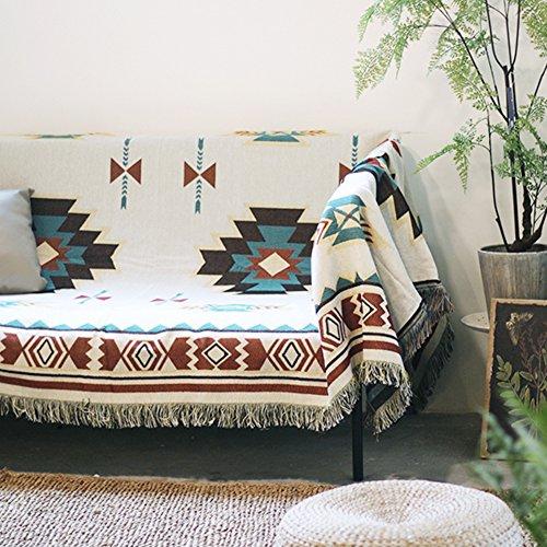 WSFJ Vintage Couch Cover,Copertura Completa Stile Etnico Geometria Asciugamano Divano,Nordico PIC-nic Panno Panno Appeso Copridivano-A 90x150cm(35x59inch)