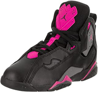 Jordan Kids Air True Flight (Preschool) Black Dark Grey Deadly Pink Basketball Shoes Size 12