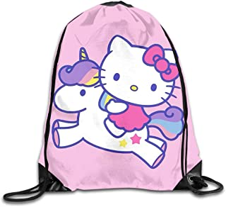 LIUYAN Drawstring Backpack Hello Kitty with Unicorn Rucksack Shoulder Bags Sport Gym Bag for Men Women