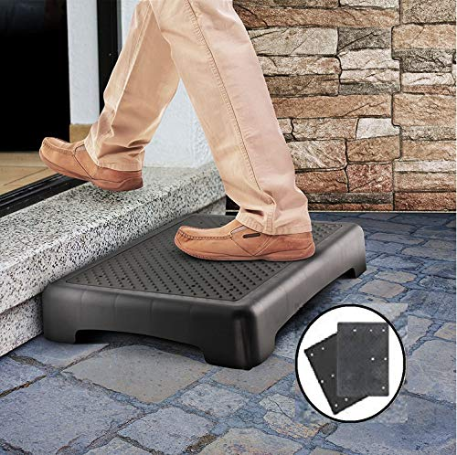 """Kovot Indoor & Outdoor Mobility Step   Measures 17.5"""" L x 13.5"""" W x 3.5"""" H & Lightweight   Great for Seniors, Toddlers, Pets and More (Ribbed & Flat Grip Inserts)"""