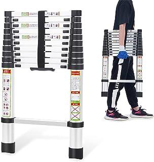 RIKADE 伸縮はしご 耐荷重150kg 軽量 持ち運びやすい 折り畳み 伸縮梯子 多機能アルミはしご 自動ロック スライド式 伸縮自在 梯子 室内室外両用 スライド式 (3.2m)