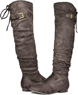 4e7e42b36 DREAM PAIRS Women's Fashion Casual Over The Knee Pull on Slouchy Boots