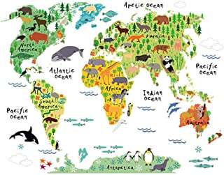 Vosarea Animals World Map Wall Decals Sticker for Kids Removable Art Murals Nursery Wall Decals for Kids Bedroom Living Room