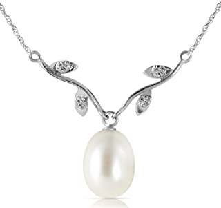 Galaxy Gold 4.02 Carat 14K Solid White Gold Pendant Drop Necklace with Natural Diamonds and Freshwater-Cultured Pearl