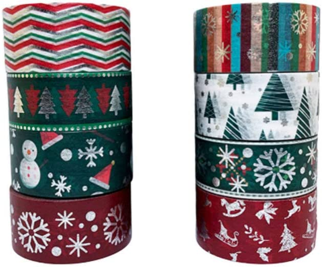 EXCEART 8 Rolls Christmas trend rank Washi 20mm Masking Wide Max 90% OFF Decorati Tapes