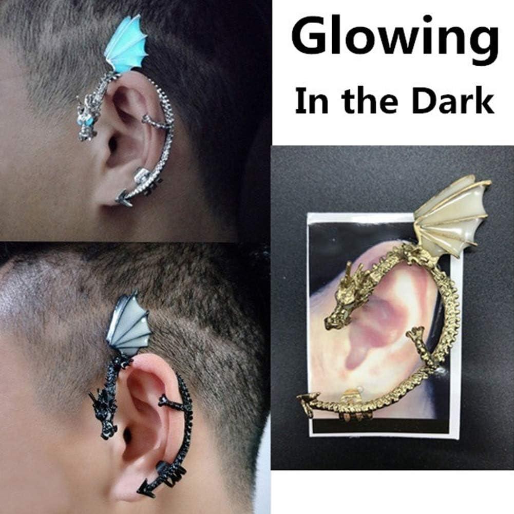 Fashion Earrings For Women,1Pc Punk Luminous Dragon Shape Ear Cuff Clip Earring No Piercing Jewelry - Golden