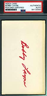 BOBBY LAYNE PSA DNA Autograph 3X5 Index Card Hand Signed