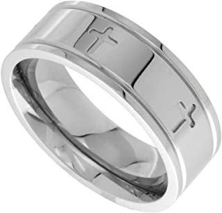 Surgical Stainless Steel 8mm Cross Wedding Band Ring Comfort-fit, Sizes 6-14
