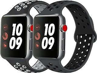 Vancle コンパチブル Apple Watch バンド 38mm 42mm 40mm 44mm シリコンバンド アップルウォッチバンド 柔らかスポーツ 交換ベルト Apple Watch Series 5/4/3/2/1に対応 (42mm/44mm-S/M, 2色セット 黒/グレー+暗灰/黒)
