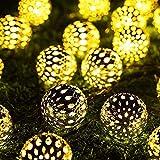 Cadena de luces marroquí, 7 m, 50 luces LED, cadena de luz solar ajustable, 8 modos, resistente al agua, para decoración de jardines de Navidad al aire libre (blanco cálido)