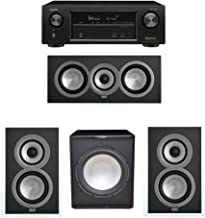 ELAC Uni-Fi 3.1 System with 2 ELAC UB5 Bookshelf Speakers, 1 ELAC UC5 Center Speaker, 1 Premier Acoustic PA-150 Subwoofer, 1 Denon AVR-X1400H Receiver