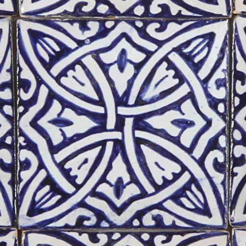 Casa Moro Marokkanische Keramikfliese Azura 10x10 cm blau weiß handbemalte orientalische Fliese Kunsthandwerk aus Marokko Wandfliese für schöne Küche Dusche Badezimmer
