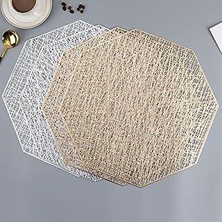 Eqwr Set de Table Design créatif antidérapant en PVC,Set de Table Lavable,Napperon octogonal doré,Convient pour Noël,Maria...