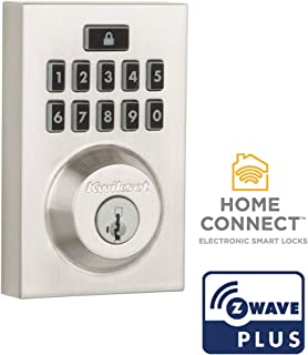Kwikset 99140-019 SmartCode 914 Modern Contemporary Smart Lock Keypad Electronic Deadbolt With SmartKey Security and Z-Wave Plus, Satin Nickel,